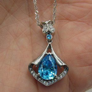 "18"" Sterling Blue & Clear Cubic Zirconia Necklace"